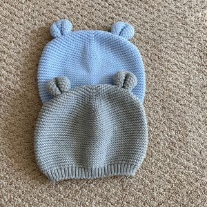 Two knitted Baby bear Gap hats - pale blue & grey
